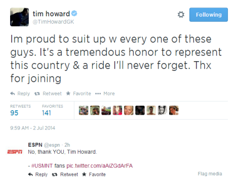 tim howard tweet
